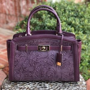 Michael kors large karson satchel bag plum